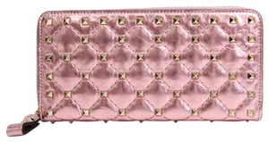 Valentino Metallic Pink Coated Leather Long Rockstud (Bi-fold) Wallet