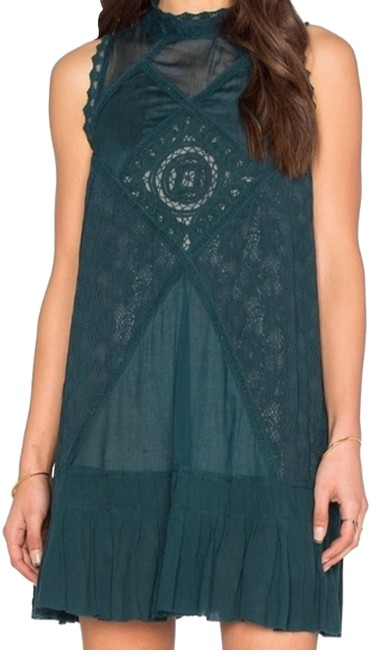Item - Teal Angel Lace One Mid-length Cocktail Dress Size 12 (L)