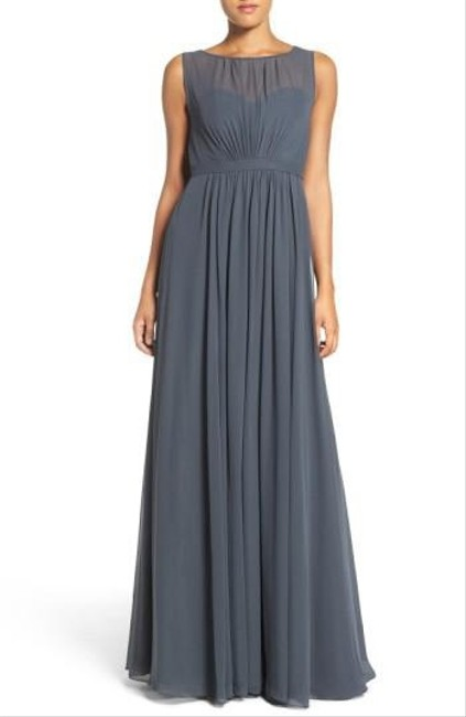 Item - Storm (Dark Grey) Polyester Chiffon Vivienne Pleated Gown Formal Bridesmaid/Mob Dress Size 14 (L)