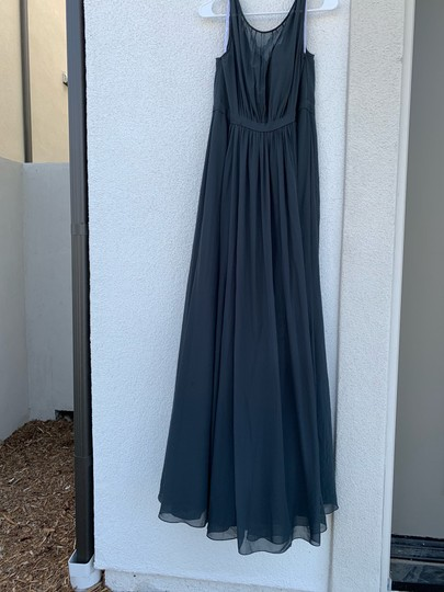 Jenny Yoo Storm (Dark Grey) Polyester Chiffon Vivienne Pleated Gown Formal Bridesmaid/Mob Dress Size 14 (L) Image 4