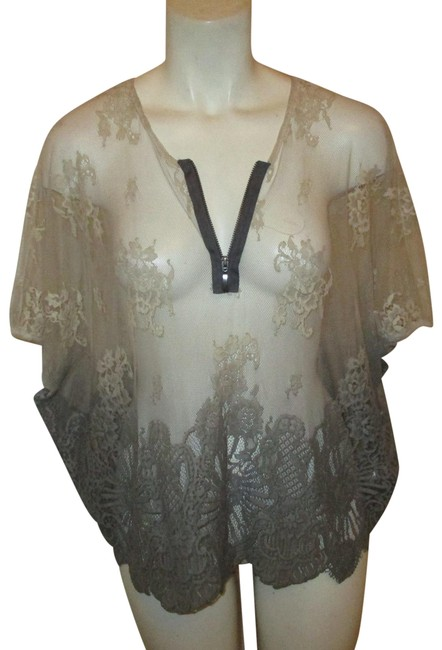 Item - Beige & Grey Ombre Sheer Mesh Lace Tunic Size 6 (S)