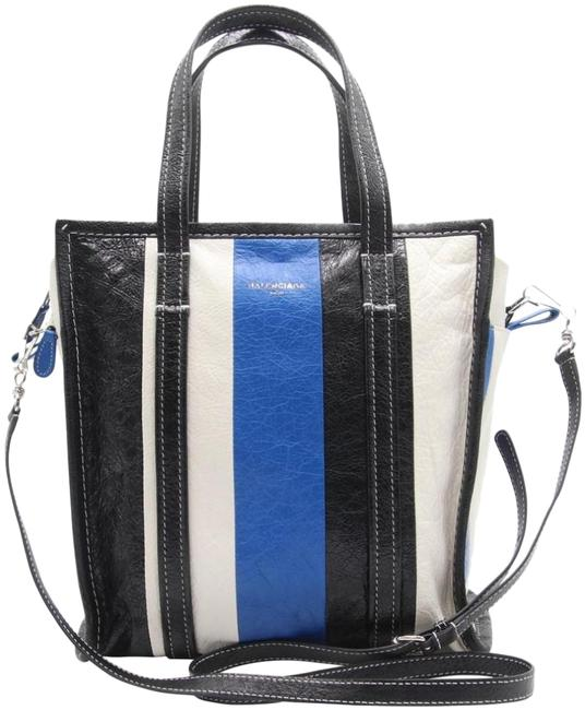 Item - Striped Agneau Arena Bazar Shopper Big Black Blue White Lambskin Leather Tote