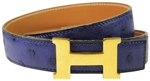 Hermès Blue Ostrich 24mm Reversible H Logo Belt Kit 867939