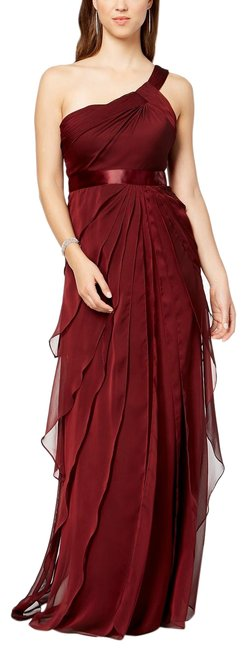 Adrianna Papell Deep Wine Draped One Shoulder Flutter Gown Long Formal Dress Size 4 (S) Adrianna Papell Deep Wine Draped One Shoulder Flutter Gown Long Formal Dress Size 4 (S) Image 1