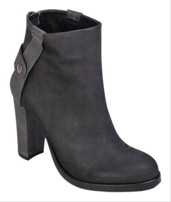 Item - Black Black/Gray Leather High Heel Boots/Booties Size US 7 Regular (M, B)