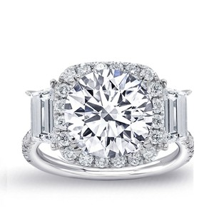 White Amazing Certified Gold with 4.30ct. Engagement Ring