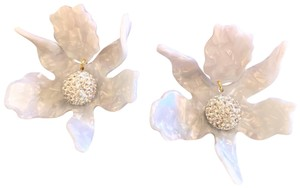 Lele Sadoughi Crystal Lily Mother of Pearl Clip On Earrings