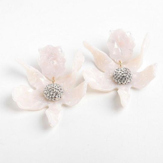 Lele Sadoughi Crystal Lily Mother of Pearl Clip On Earrings Image 2
