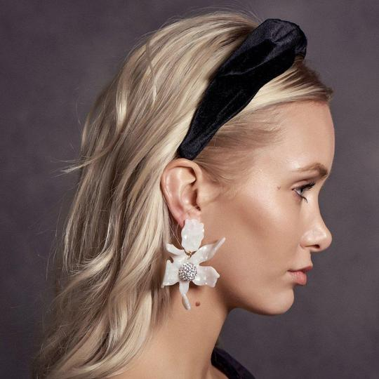 Lele Sadoughi Crystal Lily Mother of Pearl Clip On Earrings Image 3