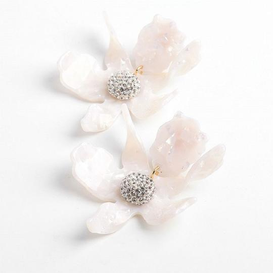 Lele Sadoughi Crystal Lily Mother of Pearl Clip On Earrings Image 4