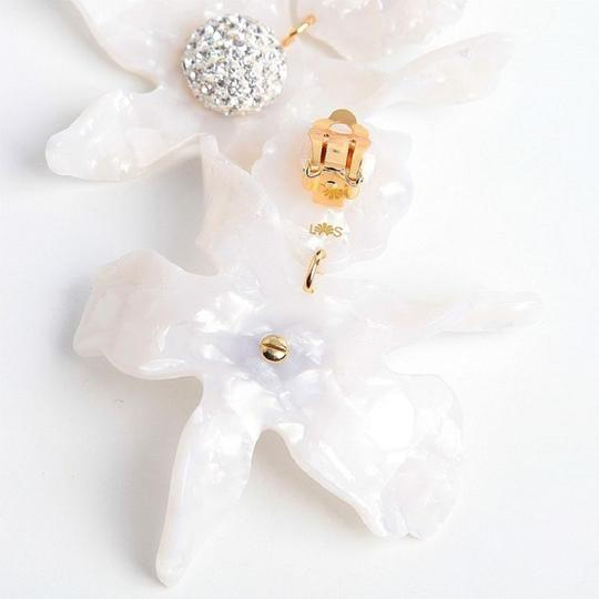 Lele Sadoughi Crystal Lily Mother of Pearl Clip On Earrings Image 5