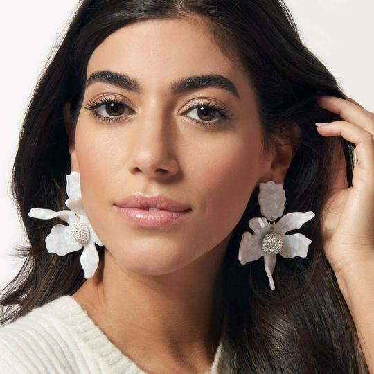Lele Sadoughi Crystal Lily Mother of Pearl Clip On Earrings Image 7