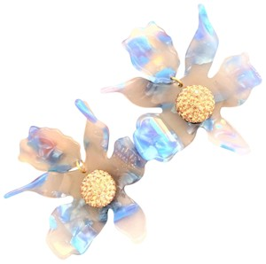 Lele Sadoughi Crystal Lily Clip On Earrings Cloudy Sky