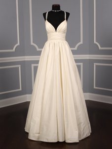 Lea-Ann Belter Ivory Silk Taffeta Madeleine Formal Wedding Dress Size 6 (S)
