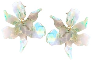 Lele Sadoughi Small Paper Lily Post Earrings Ivory Swirl