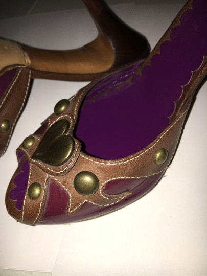 Moschino Cheap Chic Peep Toe Purple And Brown Mules Image 1
