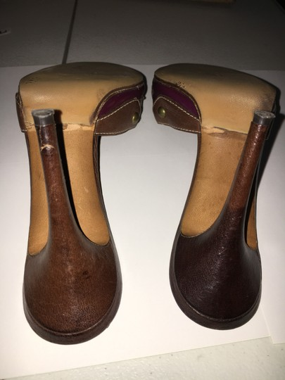 Moschino Cheap Chic Peep Toe Purple And Brown Mules Image 2