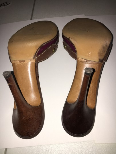 Moschino Cheap Chic Peep Toe Purple And Brown Mules Image 7