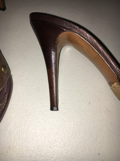 Moschino Cheap Chic Peep Toe Purple And Brown Mules Image 9