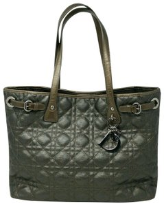 Dior Cannage Canvas Panarea Shopping Tote in Dark olive