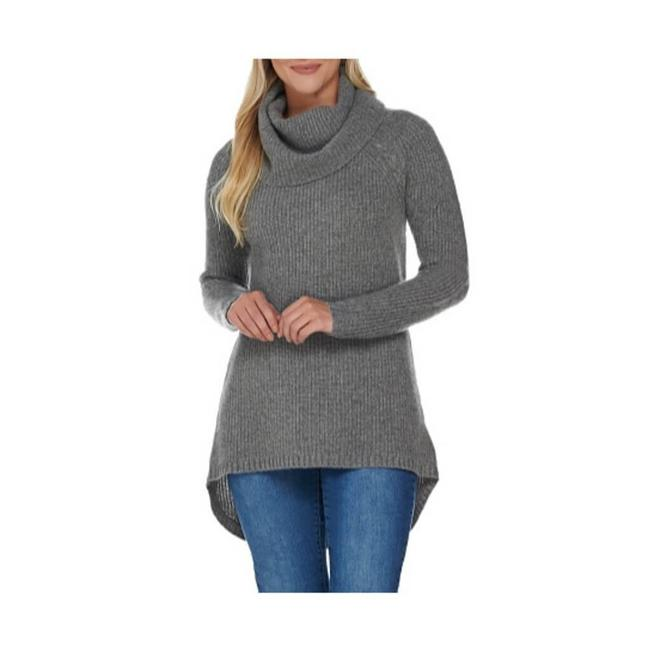 Item - Gray 2-ply Cashmere Cowl Neck Knit Sweater Tunic Size 14 (L)