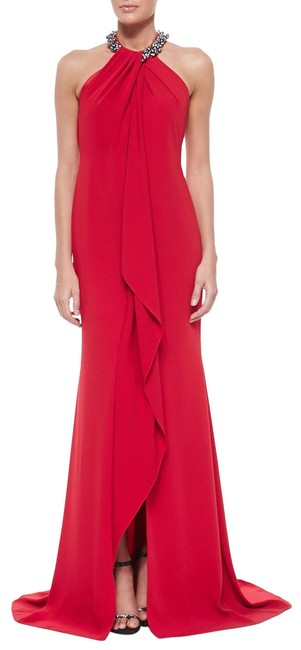 Item - Red Beaded-neck Toga Gown Long Formal Dress Size 12 (L)