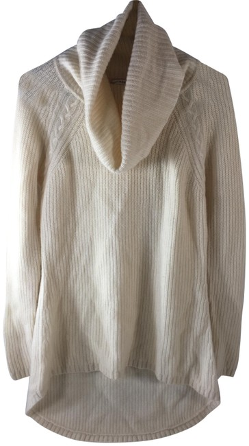 Item - Cream 2-ply Cashmere Cowl Neck Knit Sweater Tunic Size 14 (L)