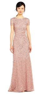 Adrianna Papell Beaded Embellished Scoop Back Train Dress