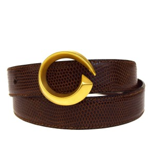 Gucci Auth GUCCI Logo Buckle Belt Lizard Leather Brown Gold-tone Italy