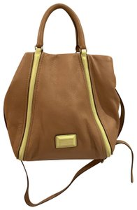 Marc by Marc Jacobs Satchel in Tan/Beige with neon green/yellow
