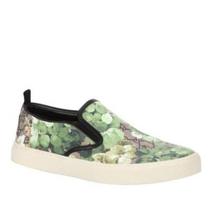 Gucci Green Bloom Flower Print Supreme Gg Canvas Slip Sneakers 407362 8961 Shoes