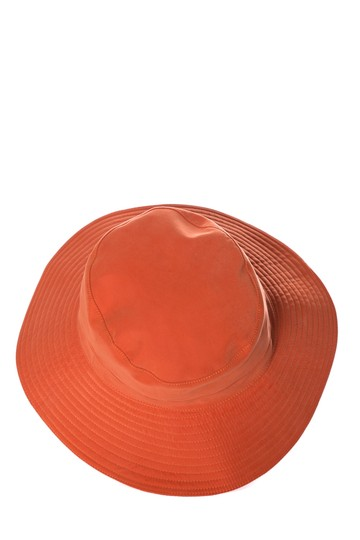 Herme HERMES Orange Woven Bucket Hat Image 1