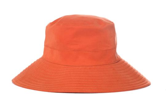 Herme HERMES Orange Woven Bucket Hat Image 3