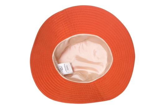Herme HERMES Orange Woven Bucket Hat Image 4