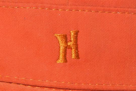 Herme HERMES Orange Woven Bucket Hat Image 6