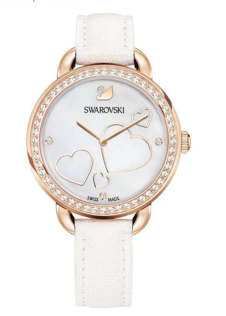 Item - White/Rose Gold Aila Day Heart Leather Strap Tone Watch