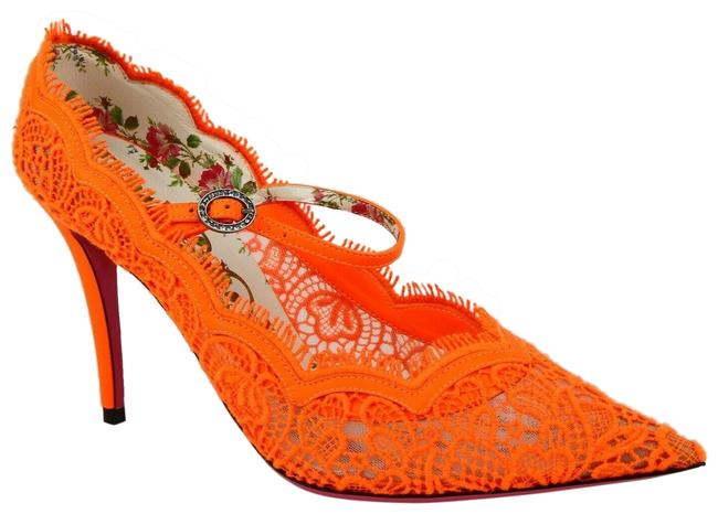 Item - Neon Orange W Lace Pointed Toe Heel W/Strap and Buckle 37.5/Us 488328 7680 Pumps Size US 7.5 Regular (M, B)