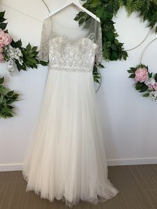 Wtoo Ivory Tulle Nelly Modest Wedding Dress Size 10 (M)
