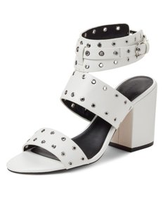 Rebecca Minkoff White leather silver grommets Sandals