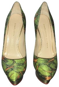 Charlotte Olympia Green Brown & Gold Pumps
