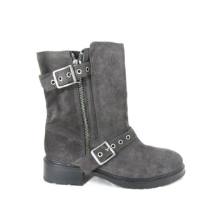 AllSaints Vintage Leather Suede Retro Chunky Gray Boots