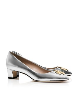Tory Burch Logo Metallic Gold Silver Pumps