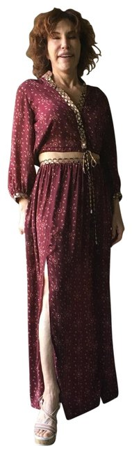 Item - Burgundy Gold White and Black Long Casual Maxi Dress Size 4 (S)