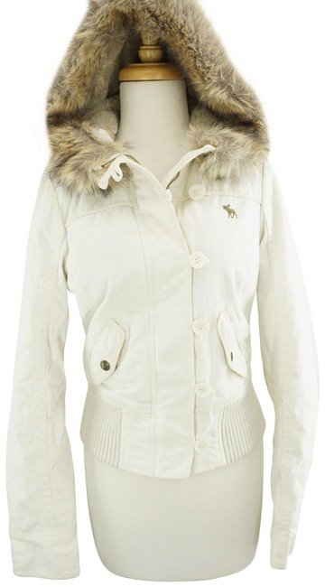 Item - Ivory Faux Lined Hooded Cotton Bomber Winter Coat Size 2 (XS)