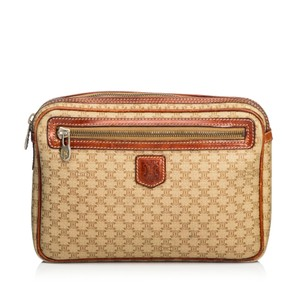 Céline 9dcecl001 Vintage Plastic Leather Brown Clutch