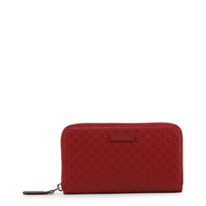 Gucci Microguccissima red leather zip around wallet