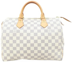 Louis Vuitton Lv Speedy 30 Canvas Tote in White