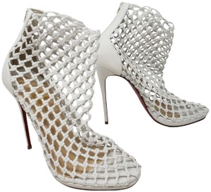 Christian Louboutin Mesh So Kate Pigalle Cage Coussin White Boots