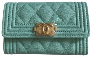 Chanel Light Blue Chanel Boy Flap Cardholder Wallet