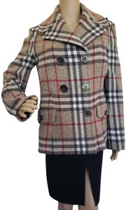 Burberry Nova Check House Check Plaid Vintage Silver Hardware Trench Coat